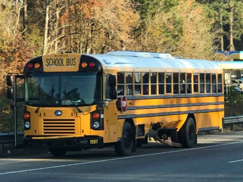 This photo shows the damage a school bus sustained in a Wednesday morning accident. There were no students on board and no one was injured.