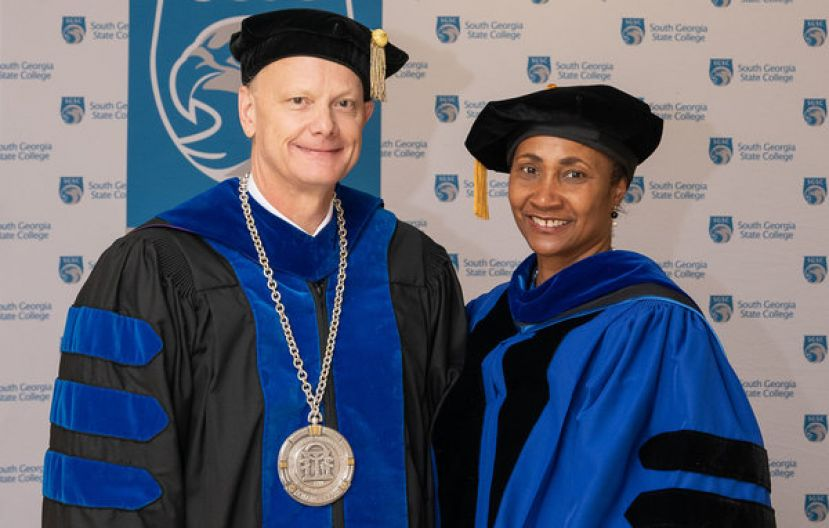 University System of Georgia Chancellor Dr. Steve Wrigley and South Georgia State College President Dr. Ingrid Thompson-Sellers