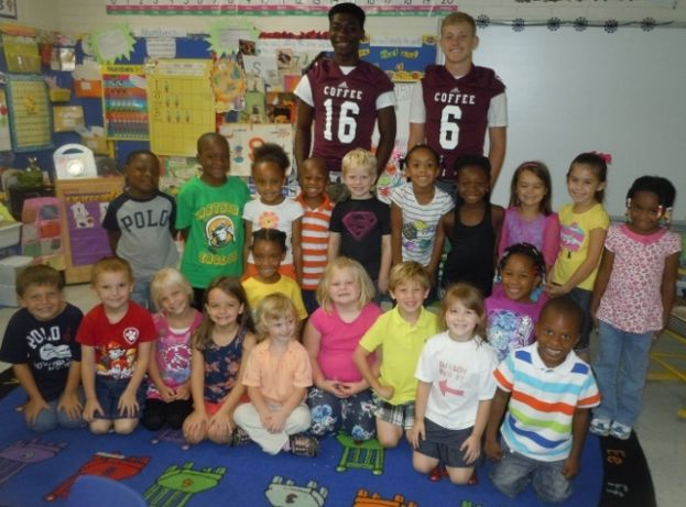 "Eastside kindergarten says, ""Go Trojans!"""