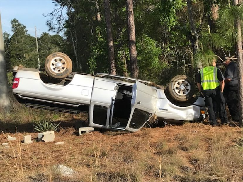 This Ford Ranger ended up with the wrong side up after being hit Thursday morning on Bowens Mill Road. The driver was uninjured in the accident.
