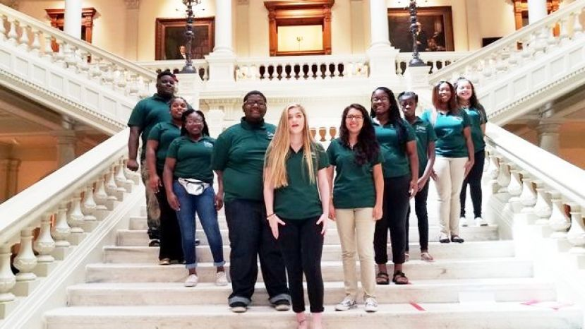 The mayor's youth council at the state capitol