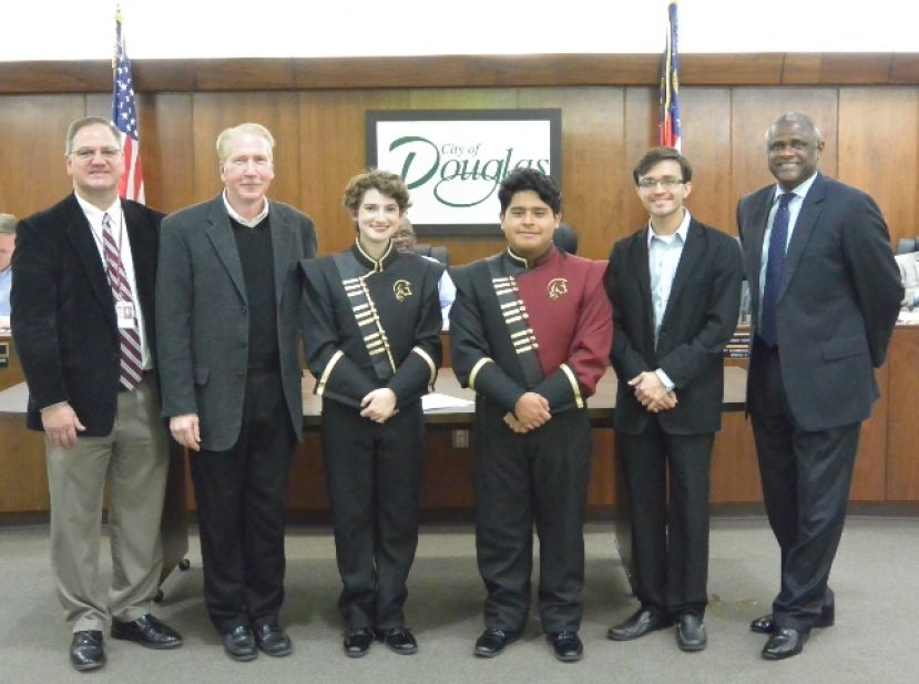 Pictured from left: Dr. Morris Leis (Coffee County Schools Superintendent), Mr. Steve Myers (CHS Band Director), Clara Farmer (Drum Major), Alberto DeJesus (Band Captain), Alex Cruz (Percussion Instructor/Assistant Director) and Mayor Tony Paulk.