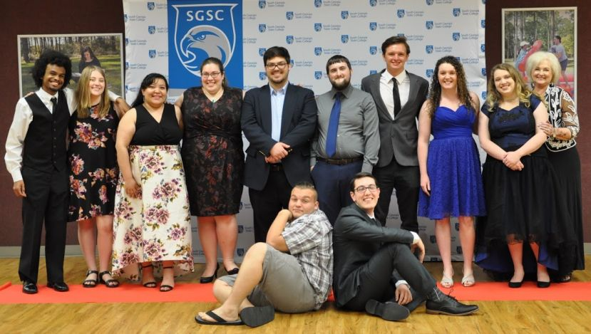 (Front row) John Norris and Ethan Mitchell (Back row) Tyrecese Johnson, Sabrina Spivey, Jesenia lopez, Sarah E. Braswell, STEM Center coordinator, Garrett Spivey, Jared Griffin, Ty Mixon, Ellie Deener, Emma Worthington and Elaine Stephens, assistant professor of English
