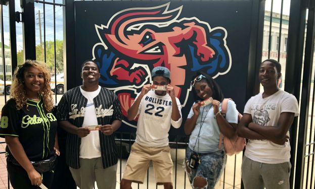 Chrisyonna Wimberly from Douglas, Ga., Tanue Yanquoi from Fernandina Beach, Fla., Niles Cowart from Macon, Ga., Malia Mann from Fitzgerald, Ga. and Jahdia Nunn from Suwannee, Ga., attended the Jacksonville Jumbo Shrimp baseball game.