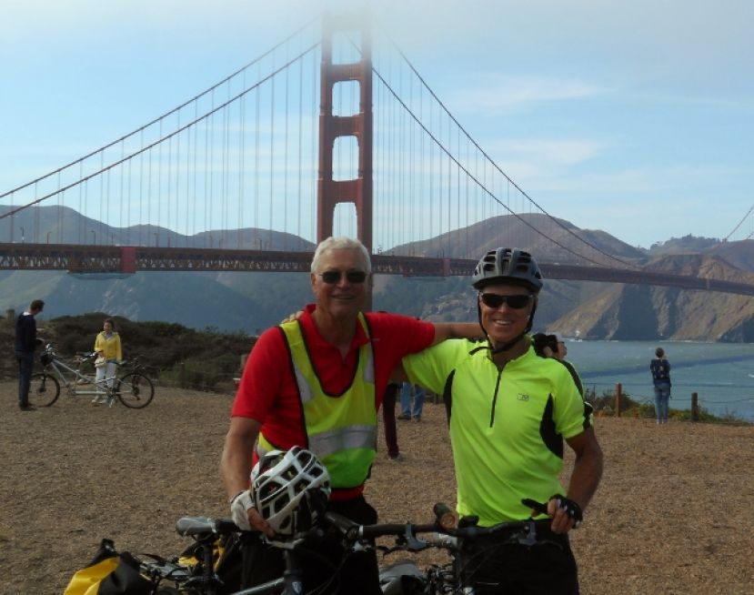 Ron Morris and Jack Tracy in San Francisco on the Pacific Coast ride, circa 2014.