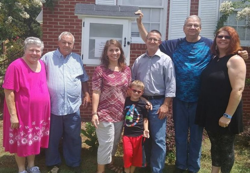 (L to R) Terry Steptoe, Charlie Steptoe, Sandy Hudson, Parker Gaines, Jerry Hudson, Pastor Gary Griffin, and Leighann Griffin