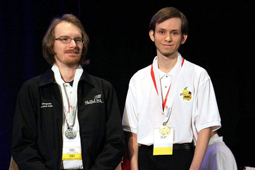 Wiregrass took top honors at the State SkillsUSA competition this past spring in Computer Programming.  Caleb Wells (Computer Support Specialist) won gold and David McEnaney (Internet Specialist Web Site Design) took silver.