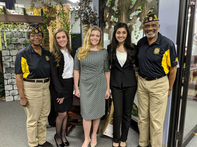 Pictured below from left to right: Alfalene Walker, Commander Post 515; Jenna Williams, second place winner; Amber Whitley, third place winner; Ashni Patel, first place winner and Jerome Loving, Service Officer and Contest Chair, Post 515.