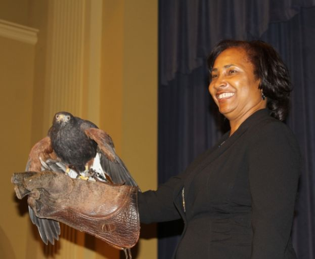 SGSC President Dr. Ingrid Thompson-Sellers took part in the Birds-of-Prey show on campus.
