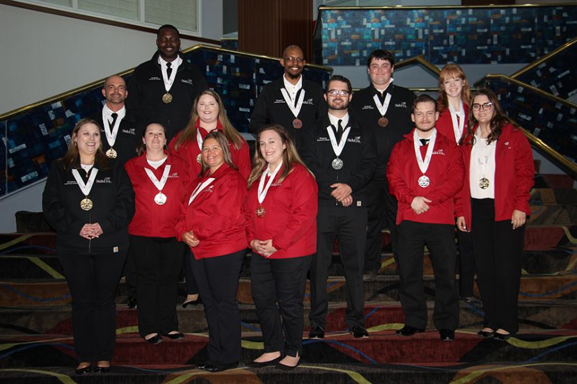 Wiregrass Tech's 2019 National SkillsUSA Gold Medal Winners are: Back Row l-r- Deric Jackson, Geremy Brantley, Steven Sauls, and Emilie Hall;  Middle Row l-r - Jeff Gary, Emily Anderson, Jeffrey Betts, Chris Rampley, and Ginna Chaney; Front Row l-r - Heather Bennett, ShaDawn Powell, Rose Sysskind, and Carson Poindexter