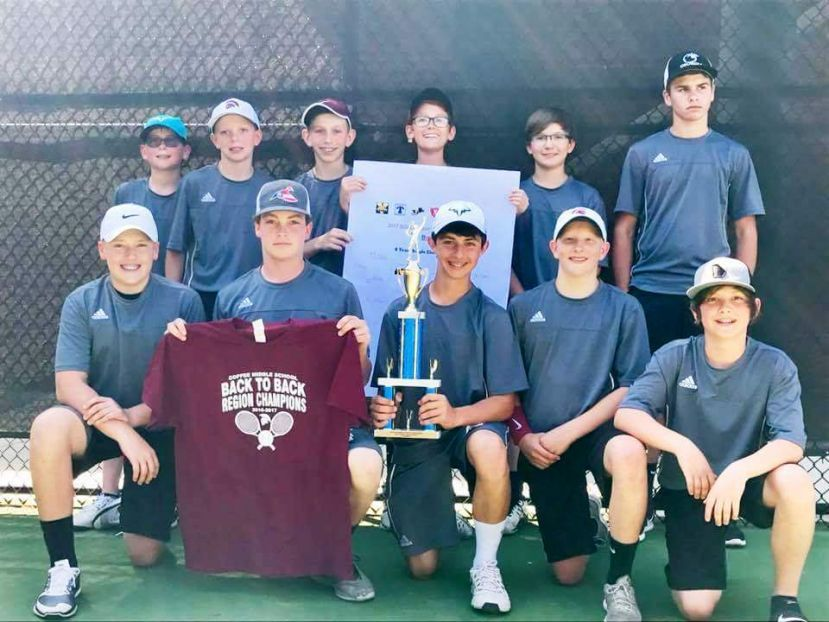 The CMS boys' tennis team: Front row (from left): Collin Jowers, Nathan Vining, Jagger Leavens, Benjamin Gowen, and Seager Leavens. Back row from left: Lee Moorman, Gabe Vining, Ted Bagwell, Nat Griffin, Grant Overstreet, and Dawson Morris. Not pictured are Quinton Texador, Aayush Patel, Cooper Day, and Rhett Robinson.