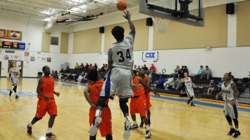 Demontrez Austin tries for a dunk Tuesday night against Brewton-Parker College's junior varsity team.