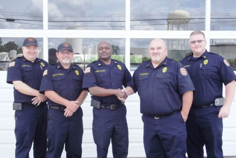 (L-R) Captain Bryson Lott, Captain Scott Wiggins, Fire Chief Larry Wilson, Fire Inspector Brantley Anderson, and Assistant Fire Chief Casey Wright.