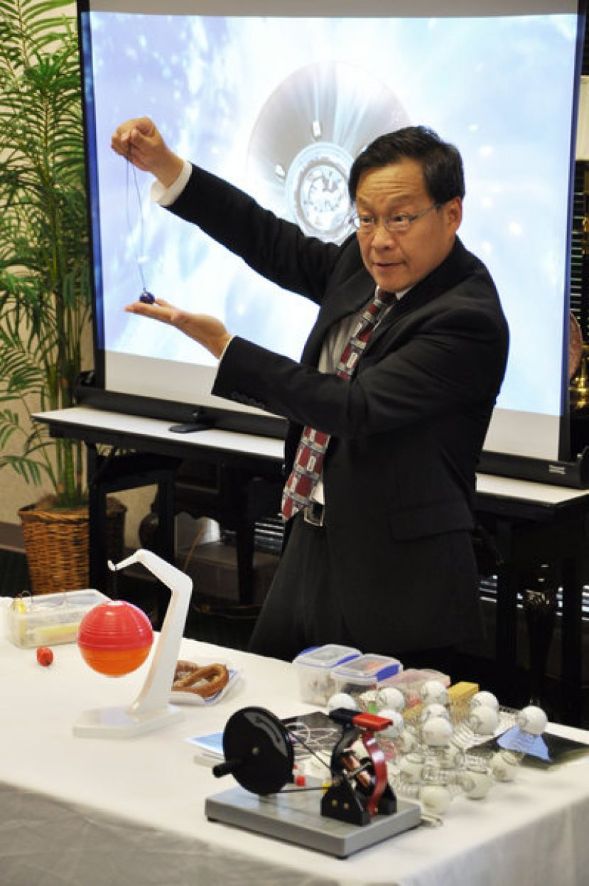 "Dr. Weiping Yu's presentation was entitled, ""The STEM Education and Space Exploration"" and included demonstrations of gravity's effect on Earth and in the solar system"
