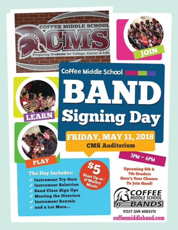 Upcoming sixth-grade students (current fifth graders) who are interested in joining the middle school band are invited to our MIDDLE SCHOOL BAND SIGNING DAY to be held on Friday, May 11.