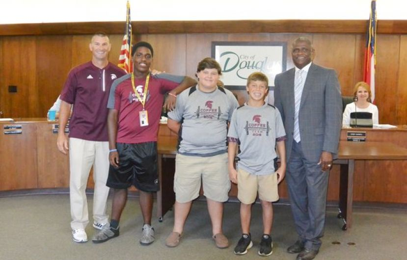 (L-R) Mike Booth (CHS Strength & Conditioning Coach), Arlis Sutton, Dane Rish, Range Robinson, and Mayor Tony Paulk