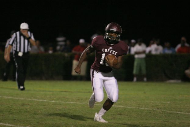 Coffee running back Greg Williams, seen here in last week's game against Ware County, scored the Trojans' third touchdown of the night against Glynn Academy. The touchdown effectively ended the Red Terrors' chances of making a comeback.
