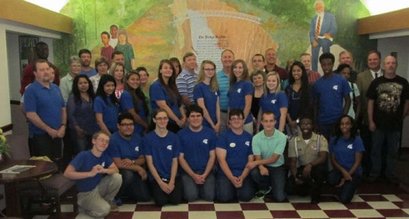 Student and employer participants of the Coffee County School System's STEM program (Science, Technology, Engineering, and Math) pause for a picture at the Coffee Co. Board of Education office Thursday, July 24.