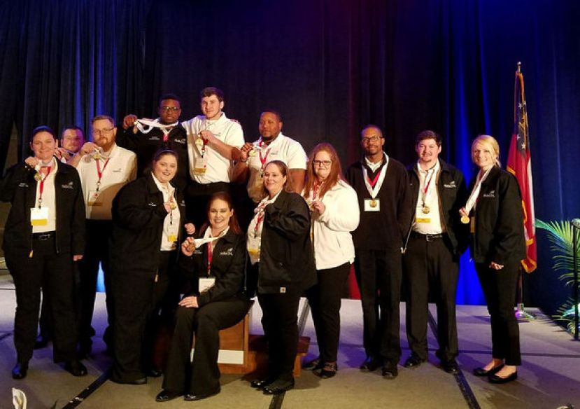 Wiregrass Georgia Technical College will be taking these 14 gold medal winners to the National SkillsUSA Competitions this July.  They are l- r Bridget Crudden, Andrew Singley, John Lake, David Orr, Jonathon Wolfe, Tae Anderson, Kellie Tucker, Darren Lewis, Blake Royals, and Amber Parton In front: Emily Anderson, Nikki Hinson, and ShaDawn Powell. Not pictured, Geremy Brantley