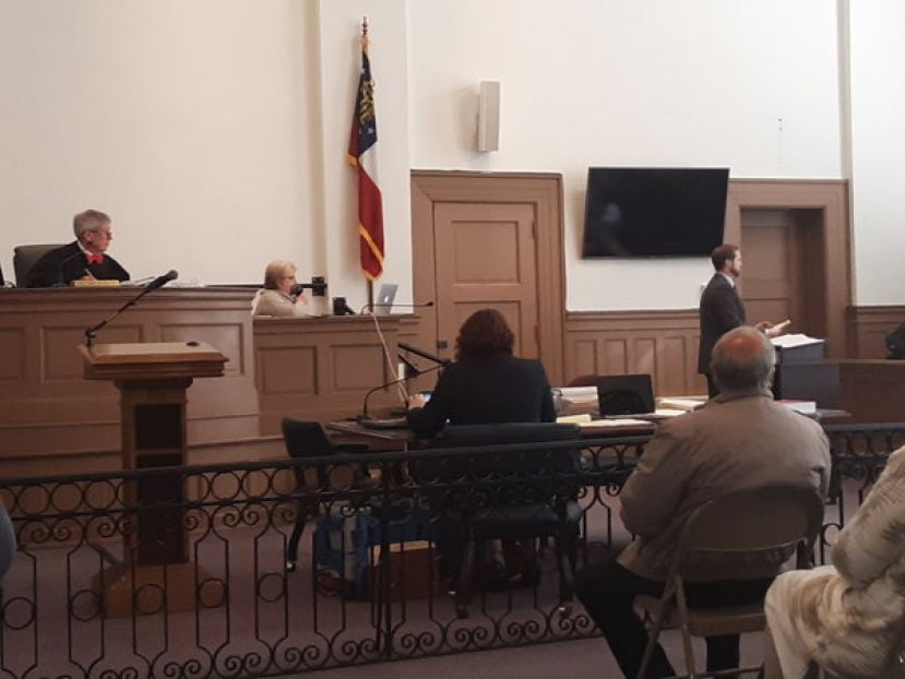 DA Bradford Rigby conducts voir dire while Judge Robert Chasteen looks on.