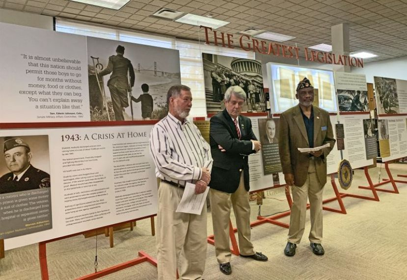 "Two great-nephews of Rep. John S. Gibson, Cedric Sweat and Bullock County Ga. commissioner Walter Gibson spoke during the opening ceremonies for ""The Greatest Legislation: An American Legion Salute to the GI Bill,"" at the Satilla Regional Library."