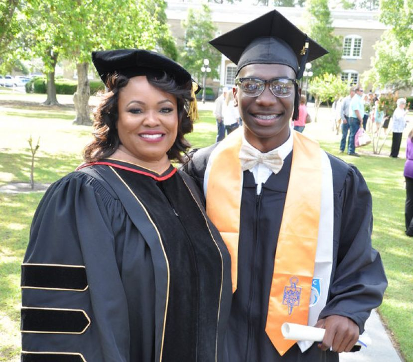 Dr. Tracy McClelland with Move On When Ready student and SGSC graduate D'Carius Clark