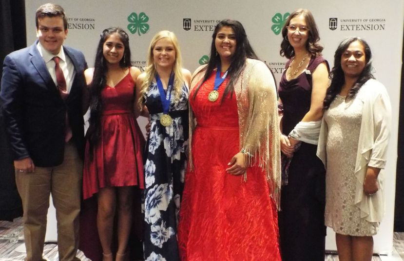 Coffee County 4-H delegation at the State 4-H Congress Winners Banquet. (L to R) Jackson Cowart, Muskan Minhas, Evie Woodward, Savannah Cothern, 4-H Program Assistant Alyse Hall, and AmeriCorps Member Chalanda Woods.