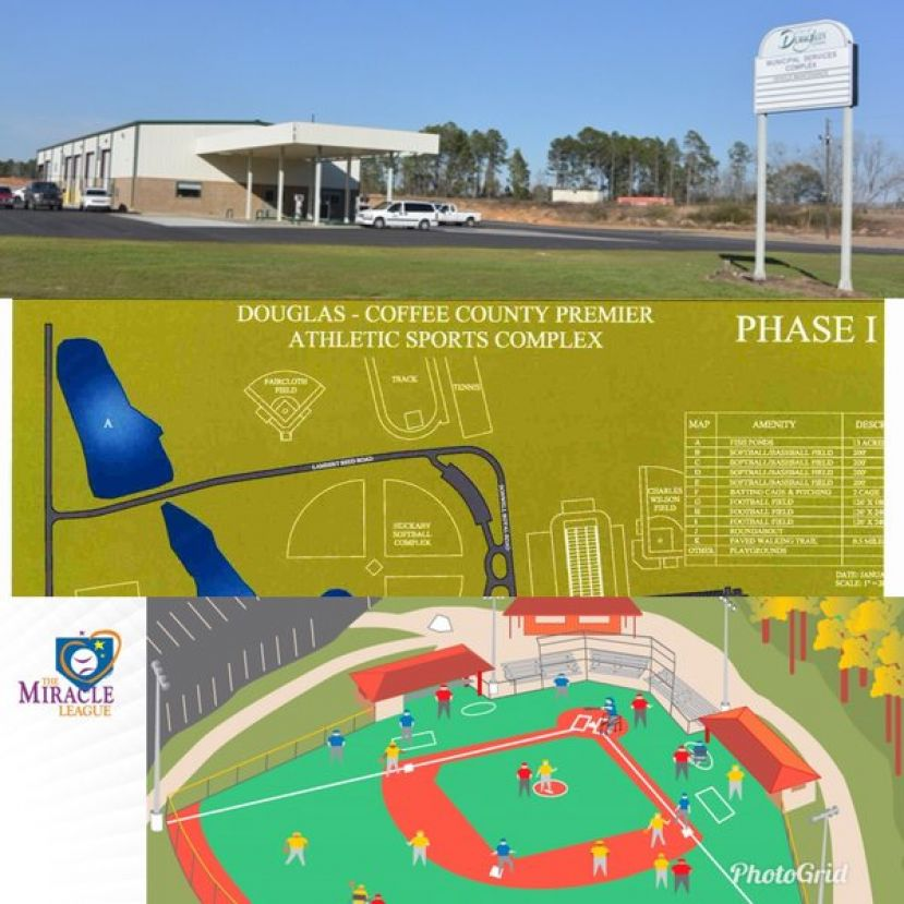 First Row: City of Douglas Municipal Services Complex; Second row: Plans of Phase 1 at the Sports Complex; Third row: Plans for the Miracle Field located at Davis Wade Park