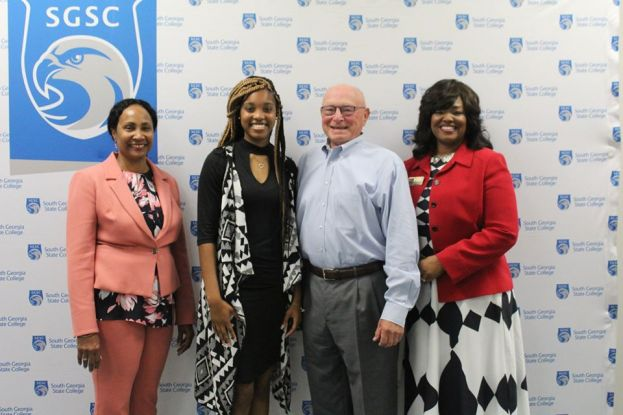 L to R: Dr. Ingrid Thompson-Sellers, SGSC President; Miss Asia Denning, scholarship recipient; Mr. Tom Smith, SGSC Foundation Trustee; and Dr. Tracy McClelland, SGSC Foundation President