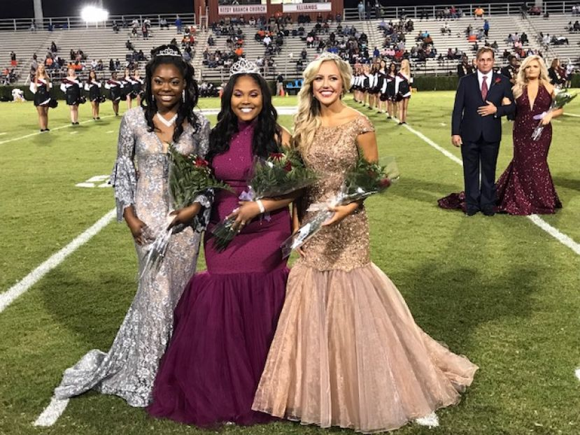 Here are the 2017 Homecoming princesses and queen (from left): Korinda Johnson, Princess; Shae Gaskin, Queen; and Reece Hampton, Princess.