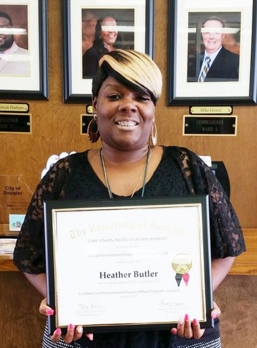 Heather Butler, City of Douglas Finance Accountant, received Level II certification from the Carl Vinson Institute of Government's Financial Management Training program.