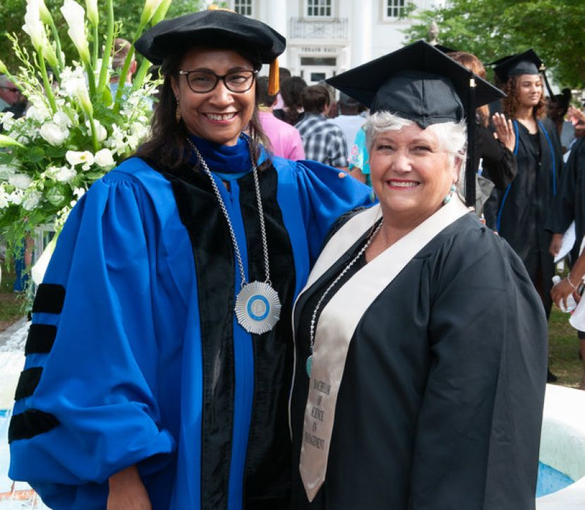 JoAnne Lewis, recipient of the first SGSC Honorary Degree, is shown with Dr. Ingrid Thompson-Sellers, SGSC President.