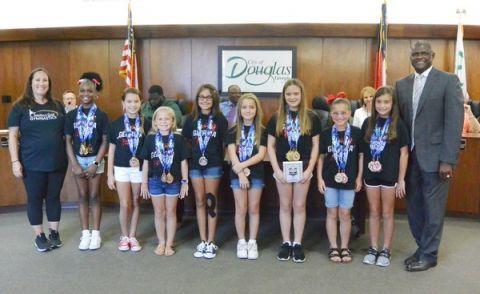 Mayor Paulk, city leaders recognized Southern Gold Gymnastics gymnasts