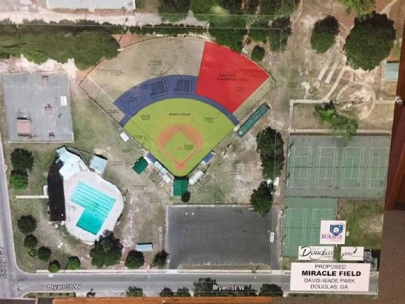 This is a rendering of Miracle Field, which is currently Davis Wade Park. The city would like to renovate the park to accommodate Miracle League facilities so children and adults with special needs can participate in organized athletics