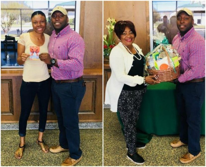 (Left) Mrs. Raven Eady receives a $100 gift card from the Natural Gas Department.  L-R: Mrs. Raven Eady and Kentice Brockington, Gas Department Regulatory and Compliance Officer. (Right): Mrs. Jettie Morgan receives a gift basket full of goodies from the Natural Gas Department.  L-R:  Mrs. Jettie Morgan and Kentice Brockington, Gas Department Regulatory and Compliance Officer.