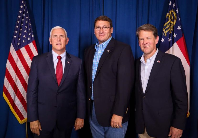 State Rep. Dominic LaRiccia (center, with Vice President Mike Pence, left, and Governor-elect Brian Kemp, right) has been selected as one of the Governor-elect's Floor Leaders.