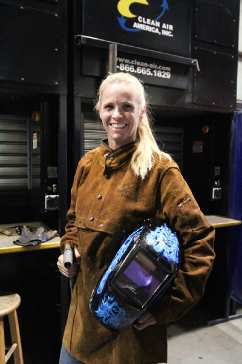 Welding is one of the programs that qualifies for the HOPE Career Grant.  Pictured is Michelle Warren who completed the program and graduated in 2016 and is currently using her news skills by creating art work by commission.