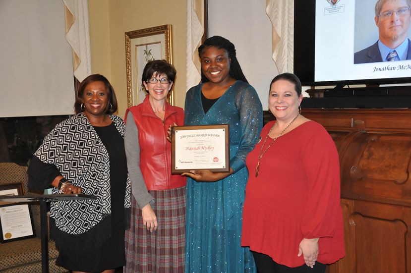 Georgia Technical College's 2020 EAGLE Winner is Hannah Hadley. She is pictured with Laverne Rome (Lowndes County Schools/WEST), Wiregrass President Dr. Tina K. Anderson, 2020 Wiregrass EAGLE Winner Hannah Hadley, and Executive Director for Adult Education Kelly Peacock.