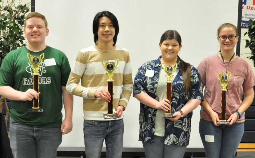 Top school winners in the annual South Georgia State College High School Mathematics Tournament were (L-R) Jacob Hatcher (Ware), Andrew Fan (Pierce), Elizabeth Howell (Brantley) and Makayla Cross (Charlton).