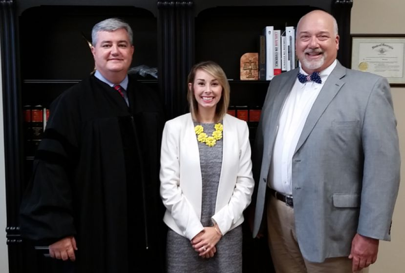 From left: Judge Kelly Brooks, Regan Cason, and George Barnhill