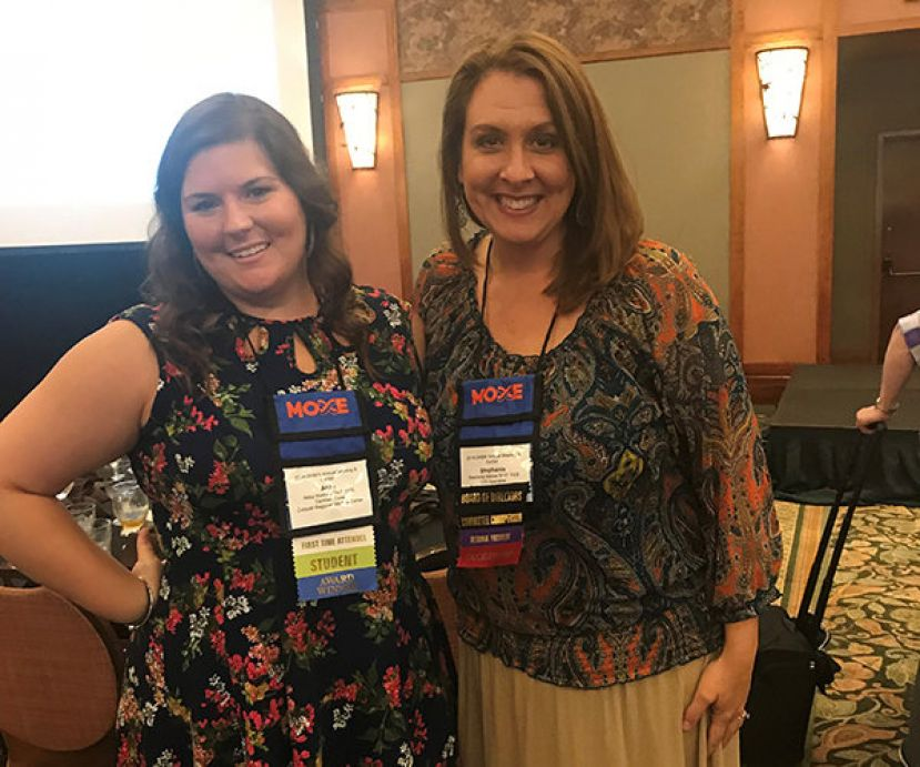 Wiregrass Tech Health Information Management Technology graduates, Abby Watkins (l) and Stephanie Mercer (r) receive state awards for their outstanding work in the field of Health Information.