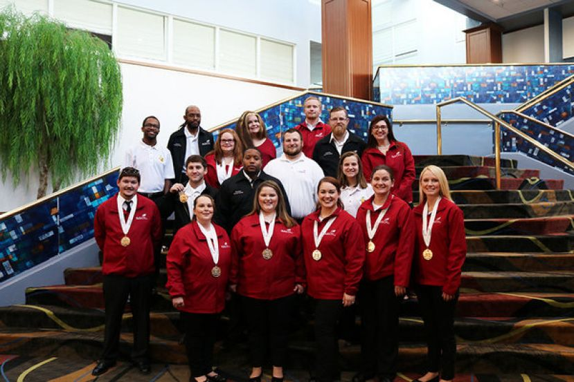 Wiregrass received the most medals among Georgia colleges at SkillsUSA Nationals in Kentucky recently.  Pictured (L-R) front row – ShaDawn Powell, Emily Anderson, Nikki Hinson, Bridget Crudden, and Amber Parton.  Second Row – Blake Royal, Johnathan Wolfe, Tae Anderson, and Emily Davis.  Third Row – Darren Lewis, Kellie Tucker, Andrew Singley, John Lake, and Amber Brown.  Top Row – Geremey Brantley, Olivia Gilliland, and Morgan Davis