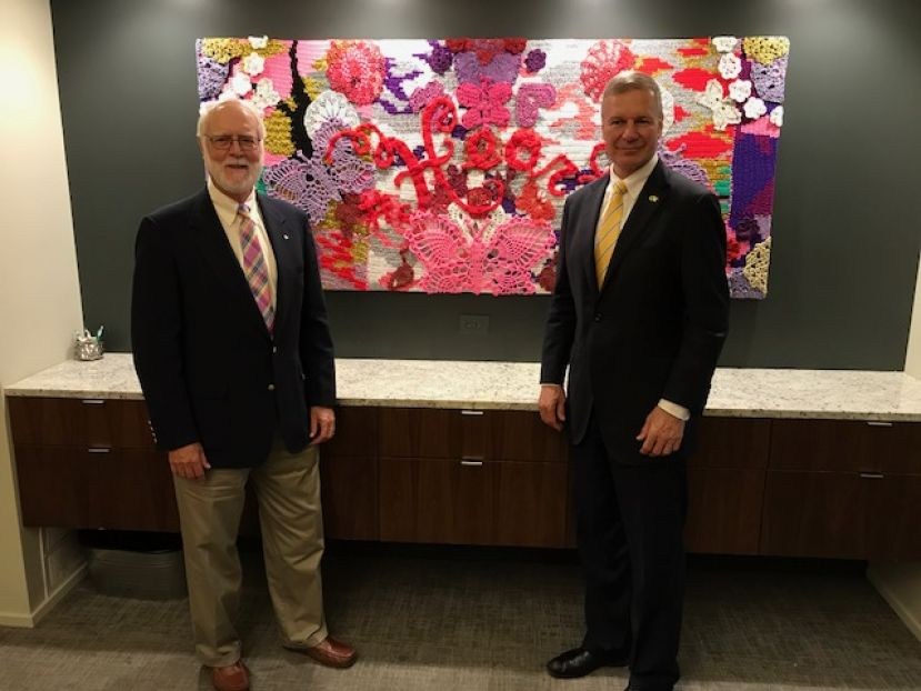 Drs. Wayne Clough and Bud Peterson, president emeritus and president of Georgia Tech, respectively, are pictured inside the Chamber of Commerce's conference room Tuesday morning just before Dr. Peterson spoke at the weekly Lions Club meeting.