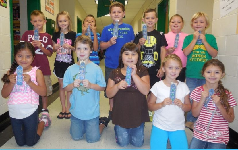 West Green second-graders receive  monogrammed bookmarks