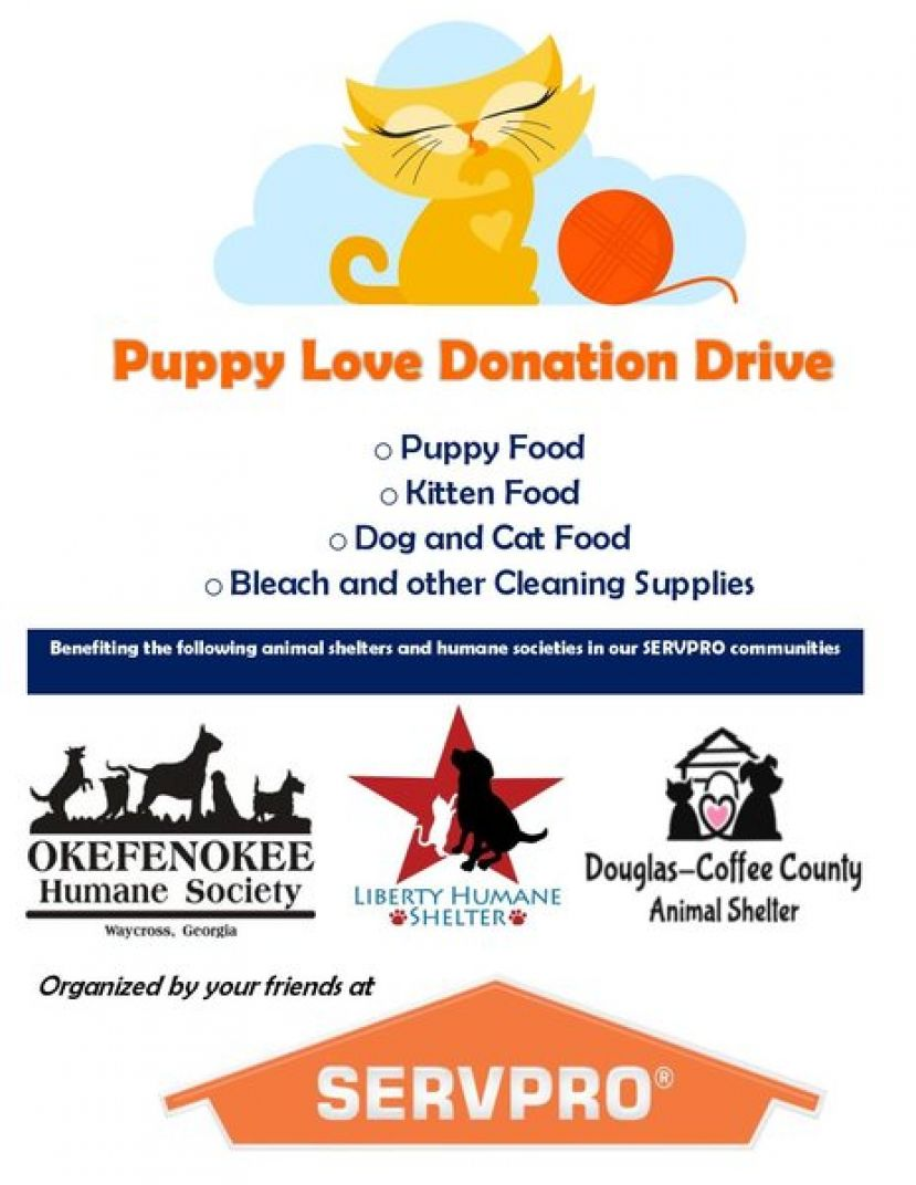 SERVPRO Restoration help to collect donations for local humane societies, animal shelters