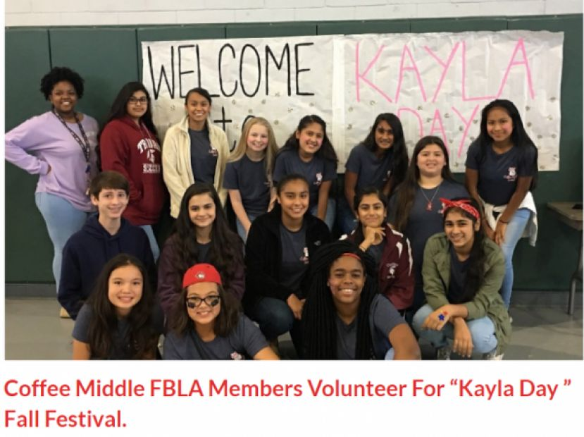 Coffee Middle FBLA members volunteer for 'Kayla Day'