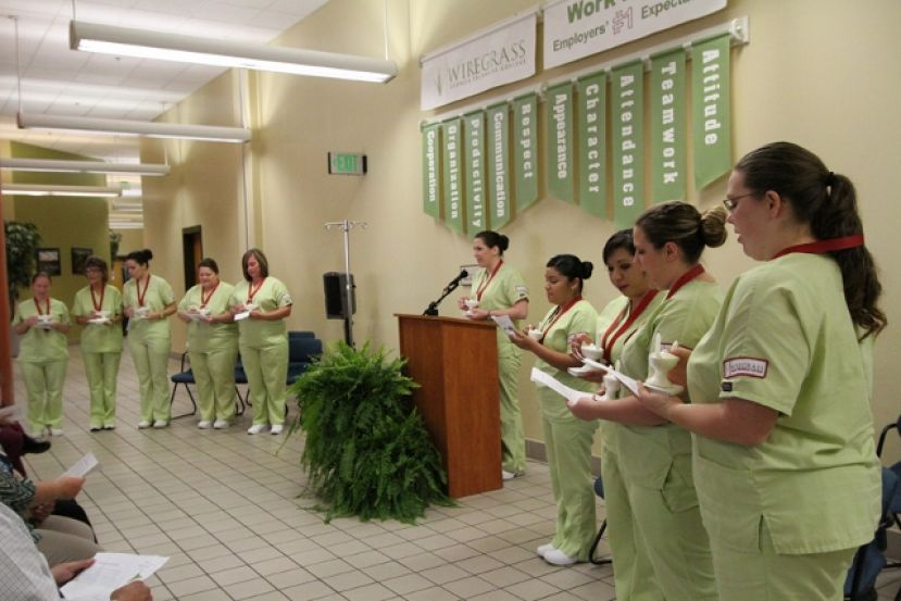 Practical Nursing students from the Wiregrass Coffee Campus receive their nursing pins.
