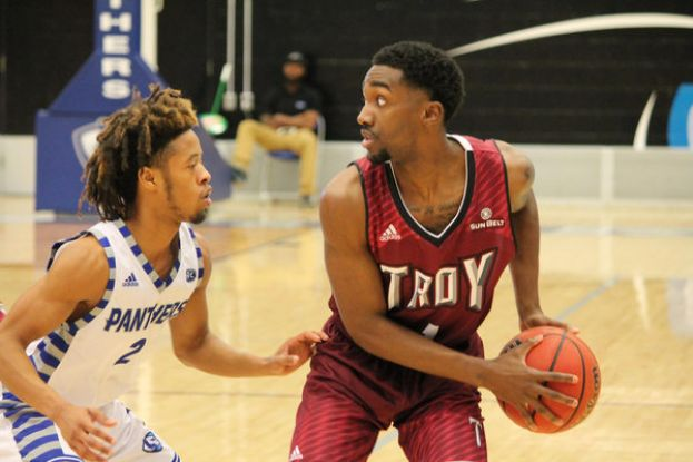 Daniel Peace (right) and Troy University will face Duke Friday night in the first round of the NCAA Men's Basketball Tournament. Peace is a former SGSC Hawk.