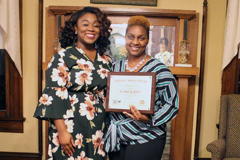 Wiregrass Georgia Technical College's 2019 EAGLE Winner is Aciena Golden. She is pictured with her nominating instructor, Jenay Lewis.