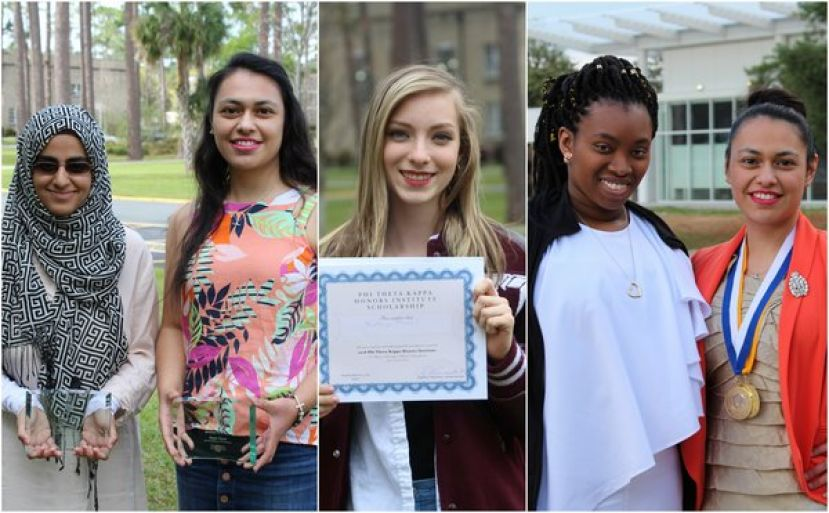 (L-R): Saadia Akram of Waycross and Alexandra Cardiel of Pearson served as leaders on the Honors in Action projects that won awards at the conference; Kathryn Mancil of Douglas received a scholarship to attend Honors Institute this summer at Villanova University in Pennsylvania; Diamond Wallace of Douglas and Alexandra Cardiel of Pearson attended the region conference and accepted the awards on behalf of the SGSC chapters.